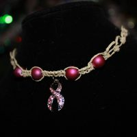 Breast Cancer Ribbon Necklace with Rhinestones