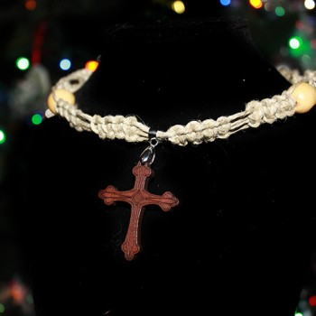 Wooden Cross Hemp Necklace