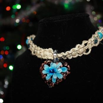 Blue Glass Flower Heart Pendant Necklace