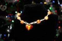 Red-Orange Heart Necklace