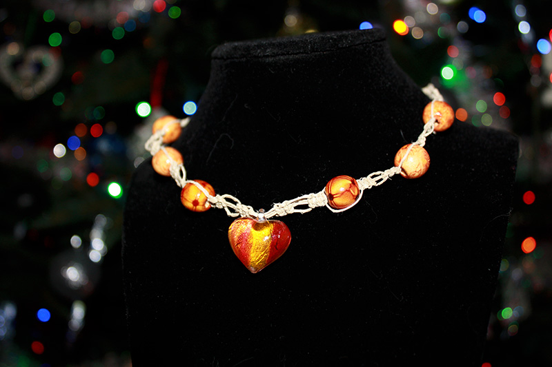 Red-Orange Heart Necklace